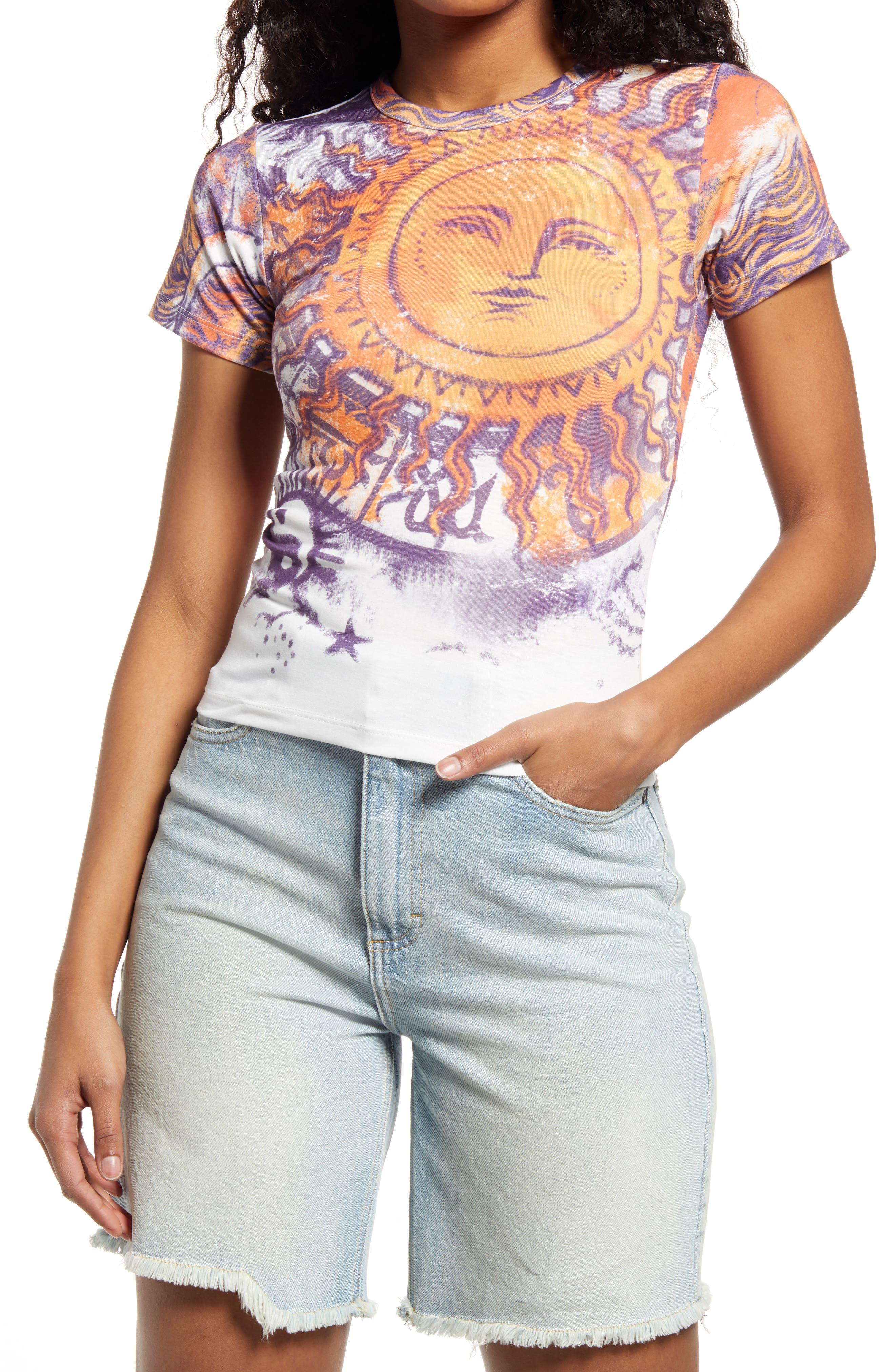 Women/'s Navy Stripe Floral T-Shirt Urban Beach UK Size 8