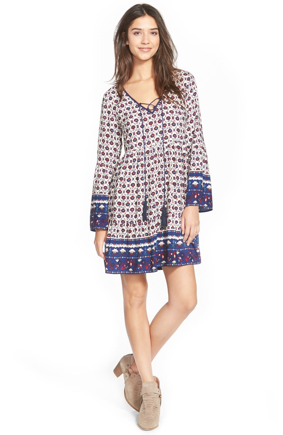 Main Image - Sun & Shadow Tie Front Print Babydoll Dress