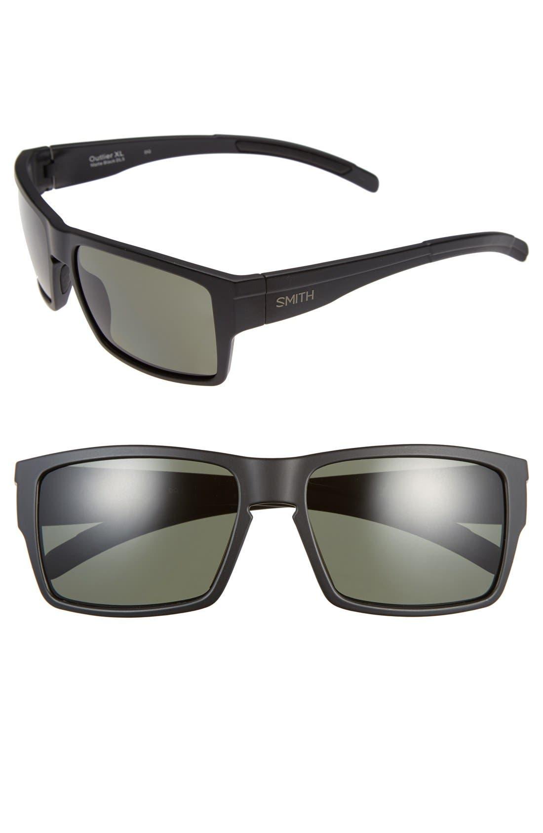 'Outlier XL' 56mm Polarized Sunglasses,                             Main thumbnail 1, color,                             Matte Black/ Gray/ Green