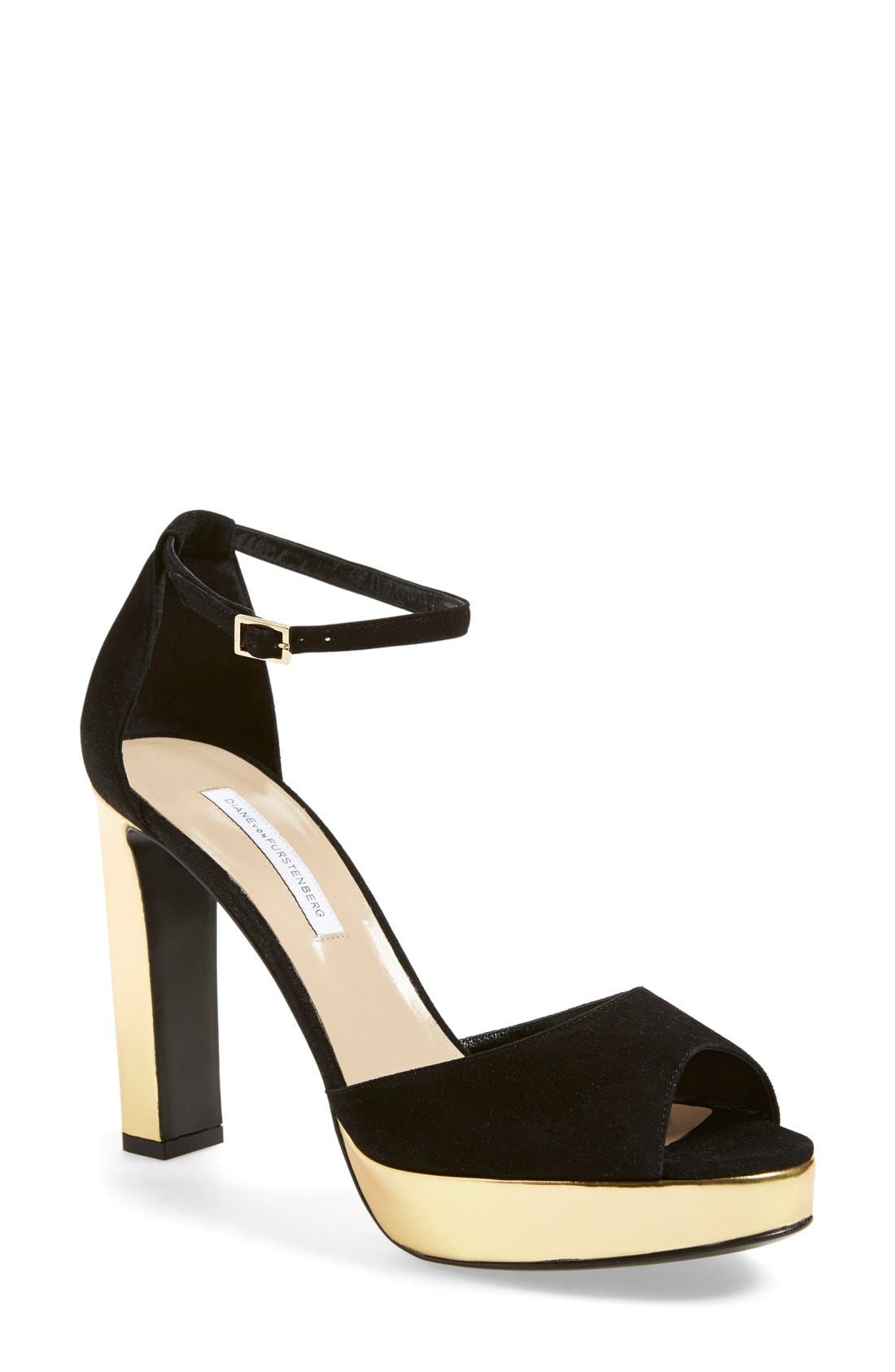 Alternate Image 1 Selected - Diane von Furstenberg 'Daria' Platform Peep Toe Sandal (Women)