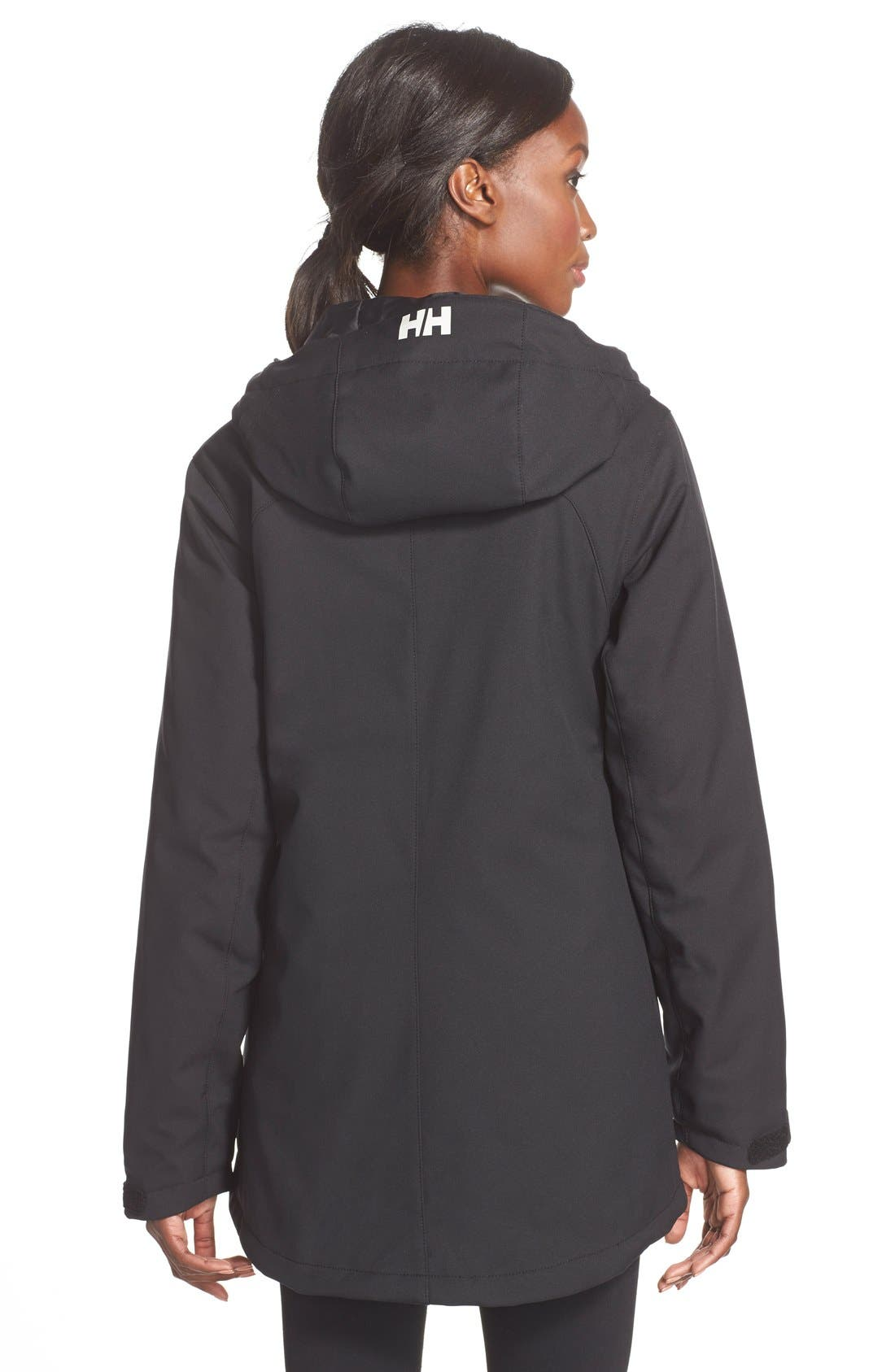 'Paramount' Water Repellent Softshell Parka,                             Alternate thumbnail 2, color,                             Black/ Black