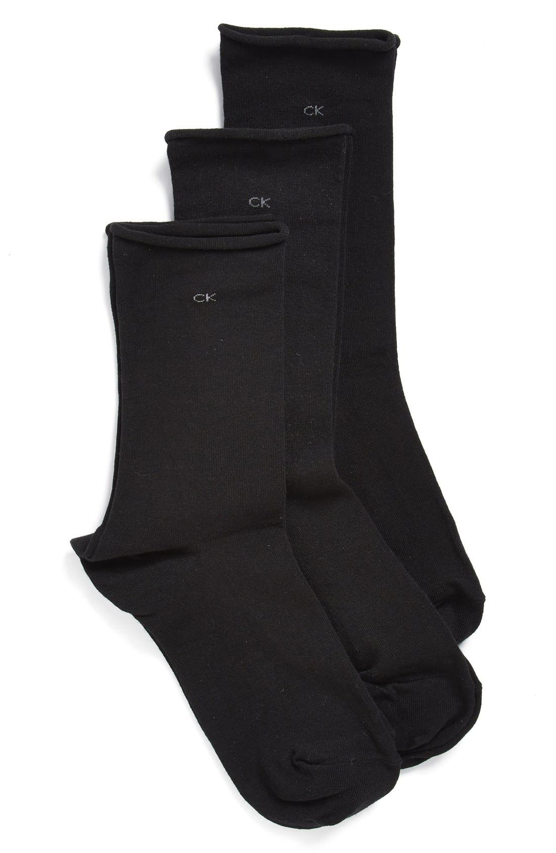 Calvin Klein Roll Top Crew Socks (3-Pack)