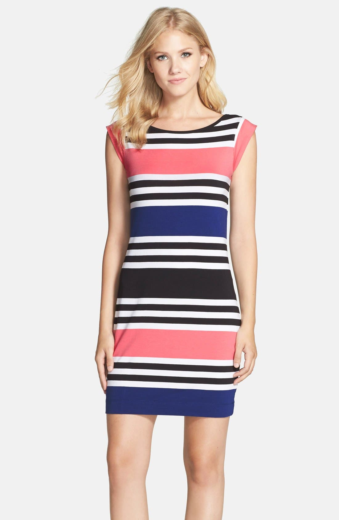Main Image - French Connection 'Jag' Stripe Stretch Cotton Knit Dress