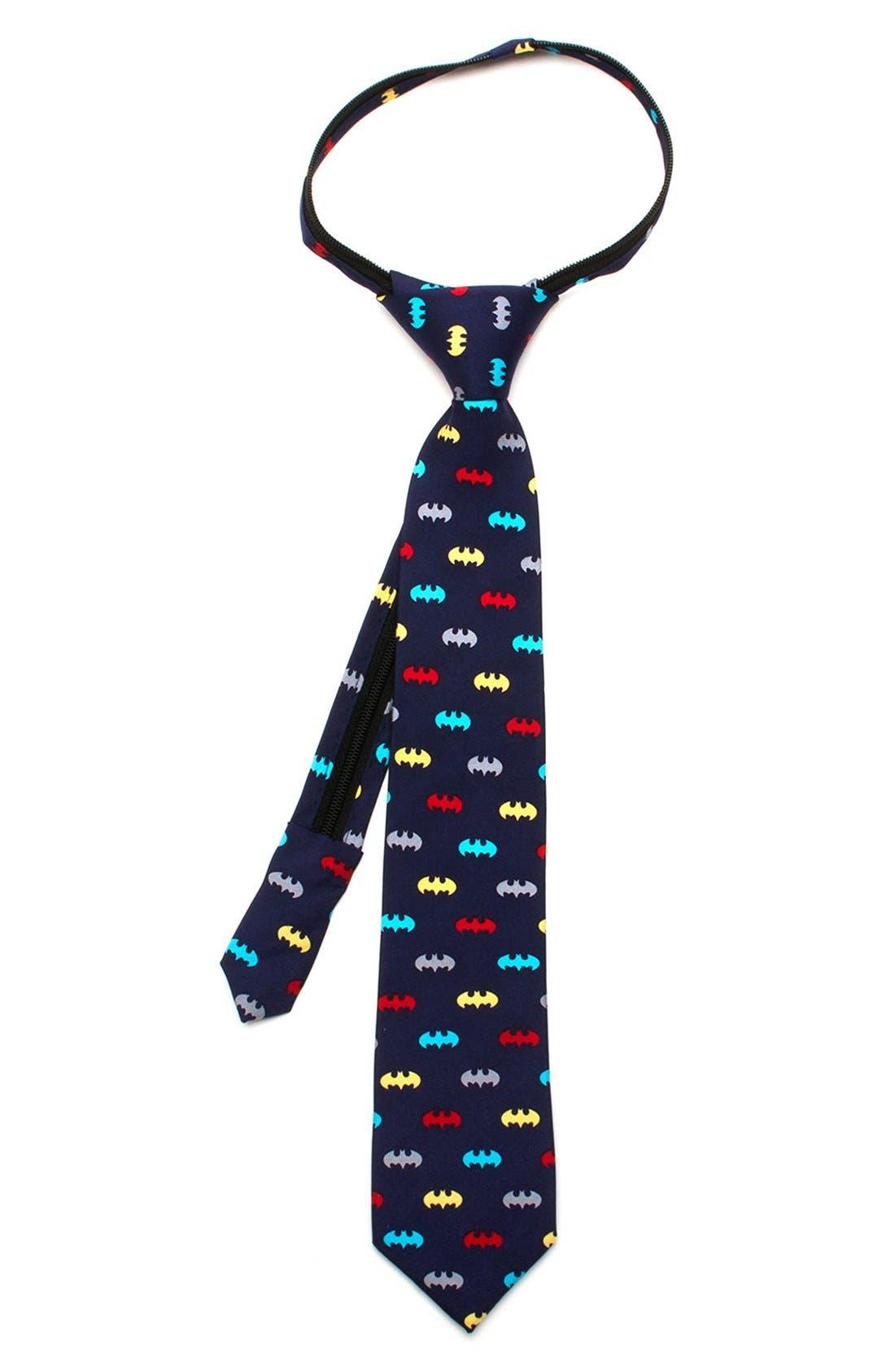 Main Image - Cufflinks, Inc. 'Batman' Zipper Silk Tie (Little Boys)