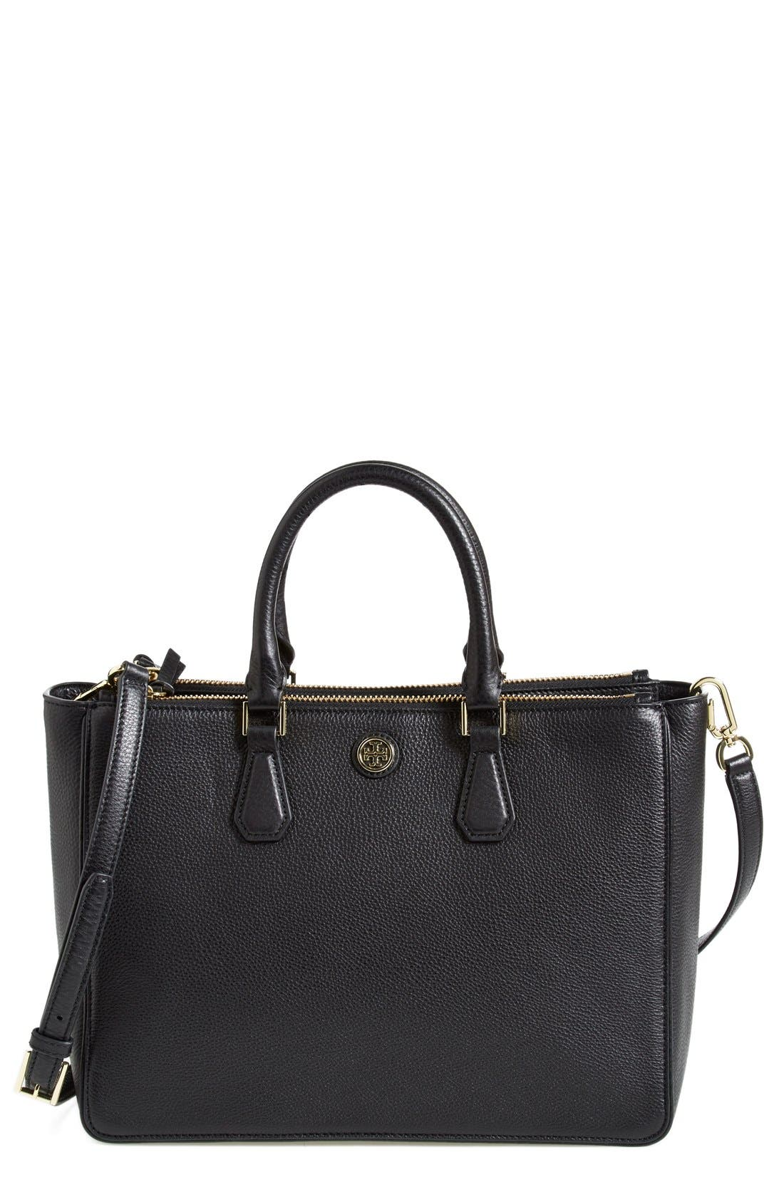 Alternate Image 1 Selected - Tory Burch 'Robinson' Pebbled Leather Double Zip Tote