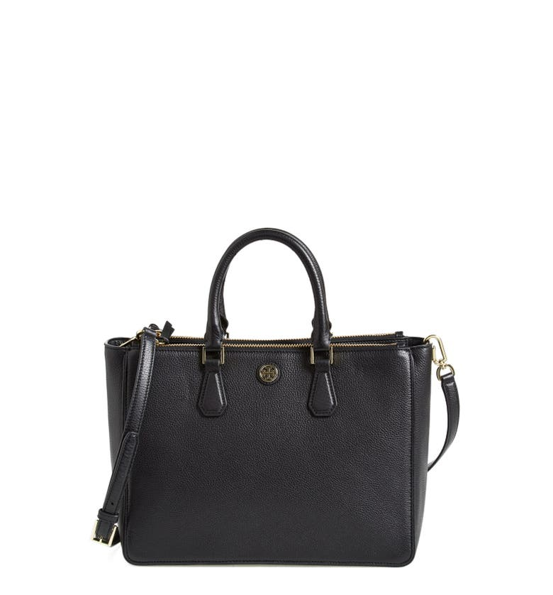 Tory Burch Robinson Pebbled Leather Double Zip Tote