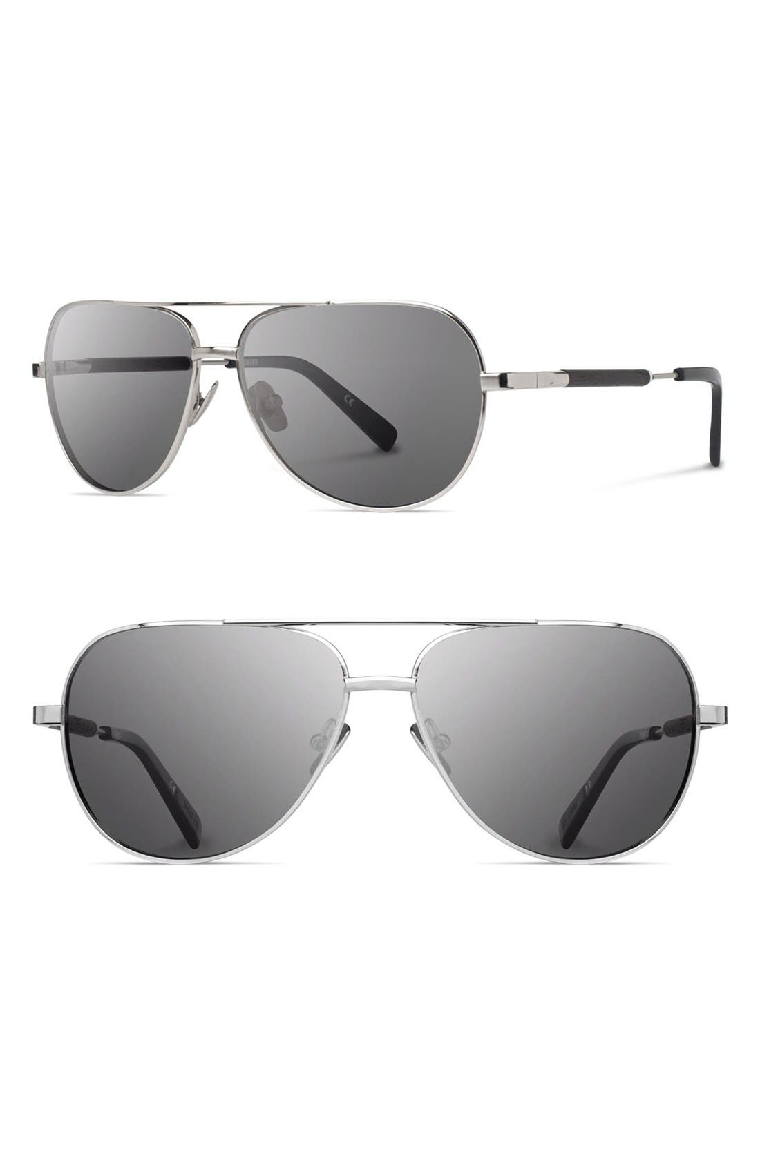 'Redmond' 56mm Polarized Aviator Sunglasses,                         Main,                         color, Silver/ Ebony/ Grey Polar