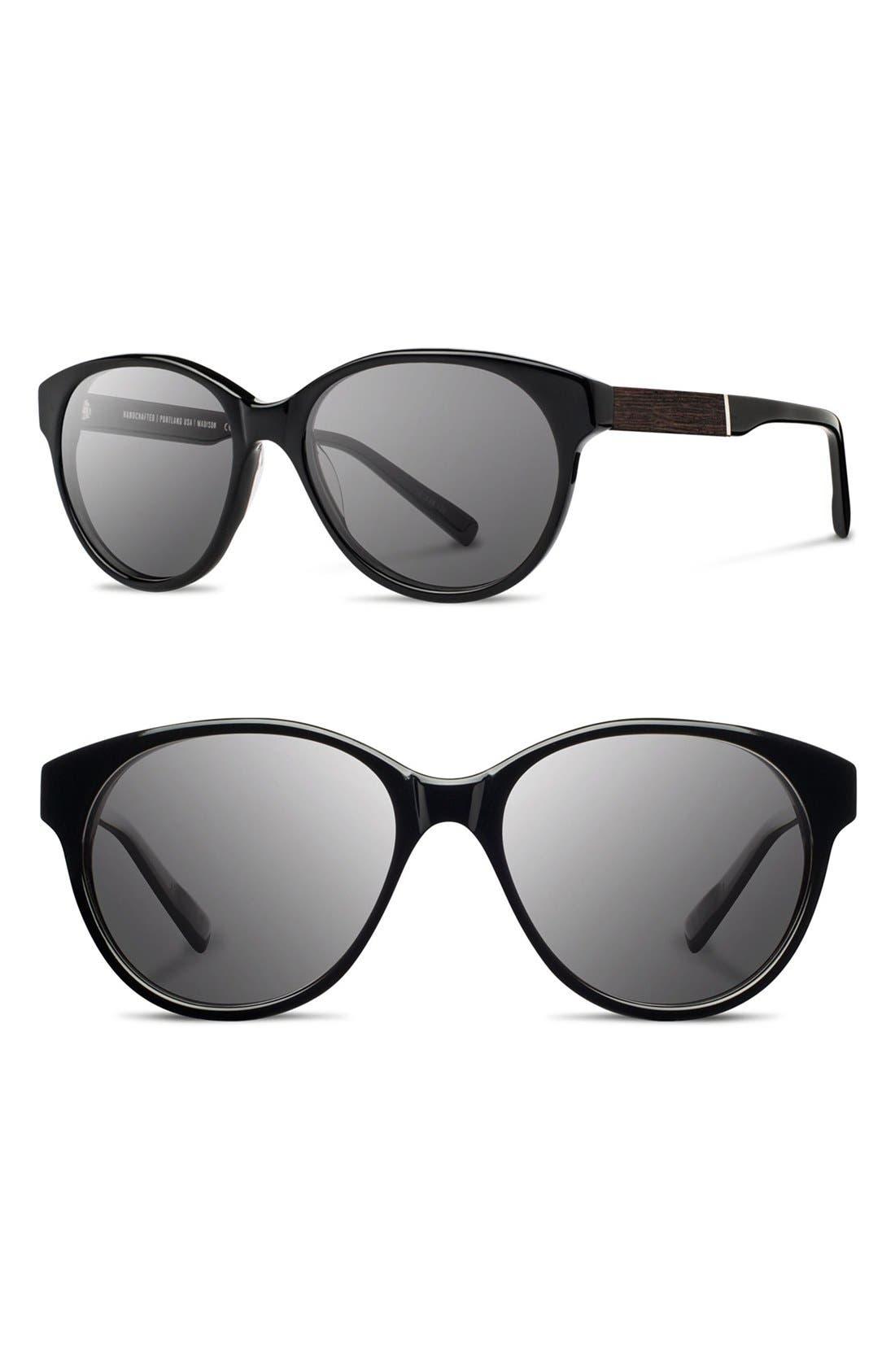 'Madison' 54mm Round Sunglasses,                         Main,                         color, Black/ Ebony/ Grey