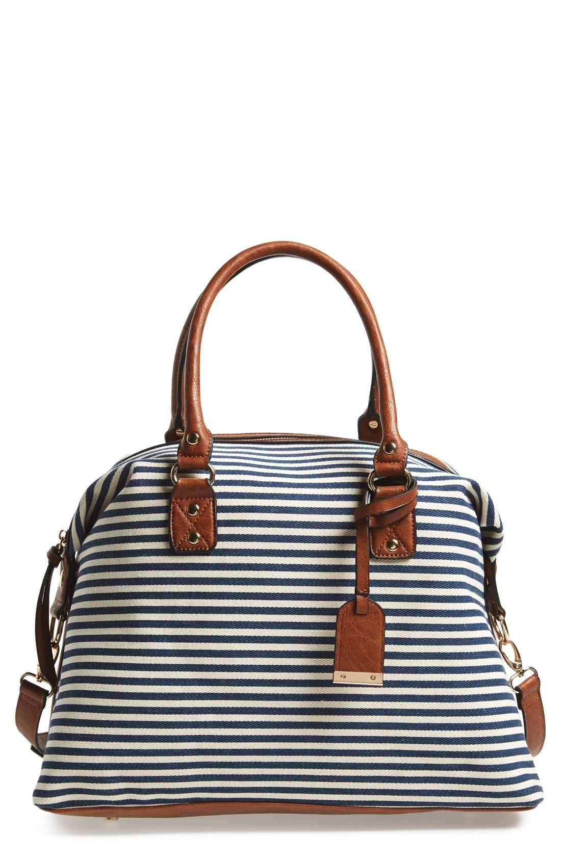 Main Image - Sole Society 'Leighton' Stripe Duffel Bag
