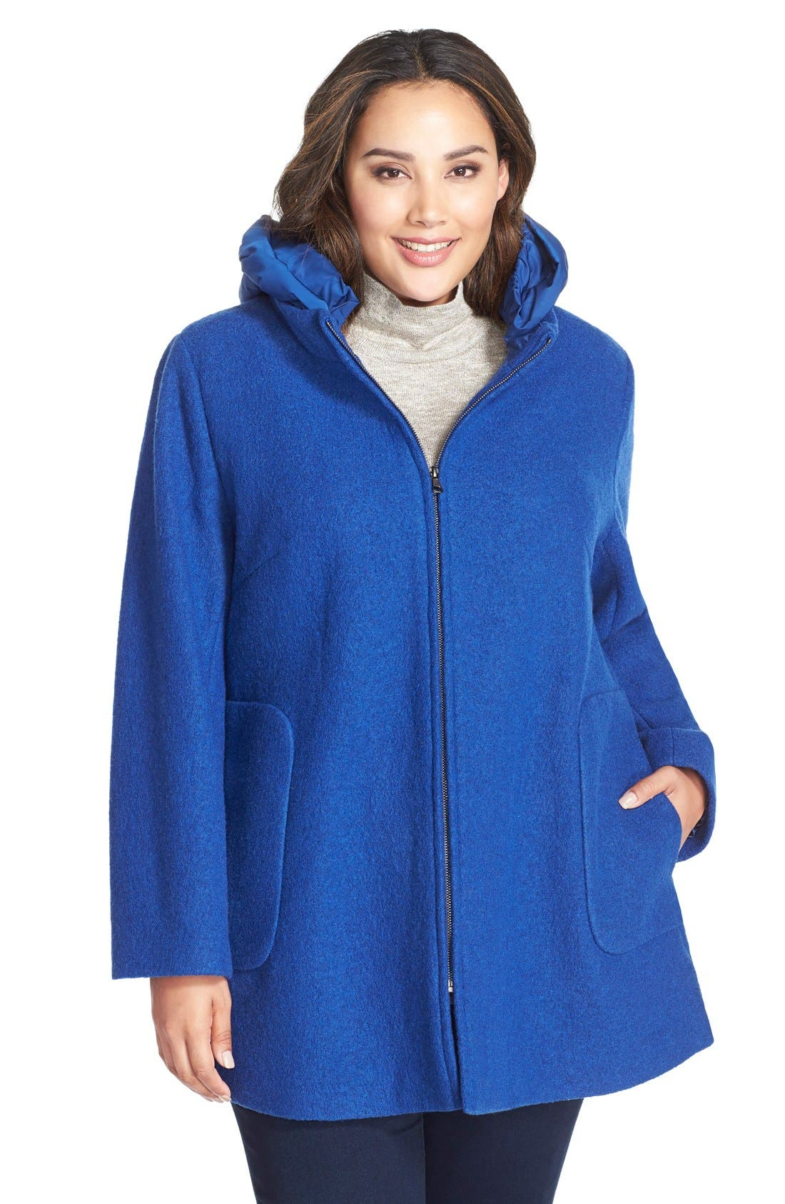 Hooded Boiled Wool Blend Swing Coat,                         Main,                         color, Cobalt