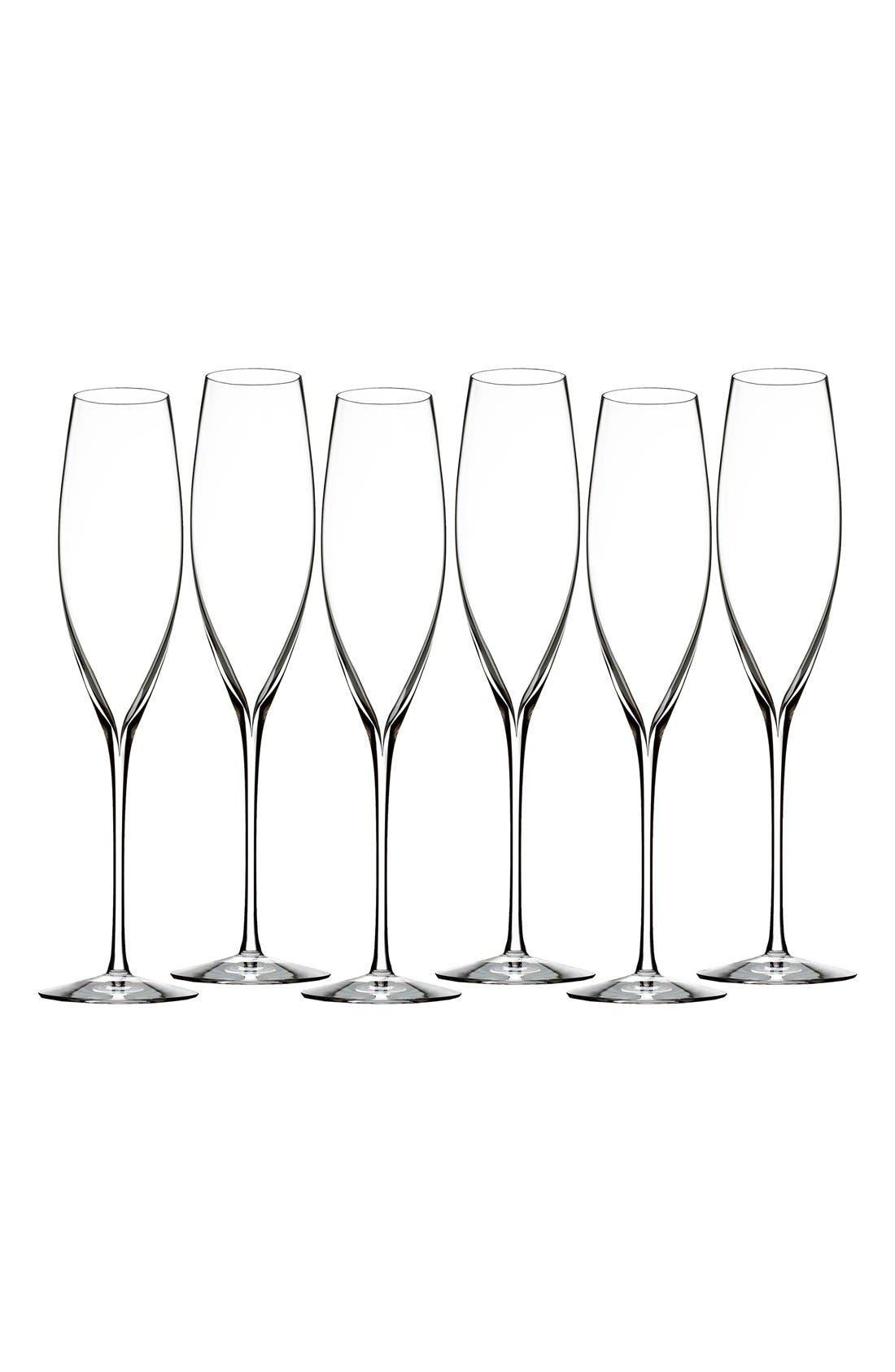 Alternate Image 1 Selected - Waterford 'Elegance' Fine Crystal Champagne Flutes (Set of 6)