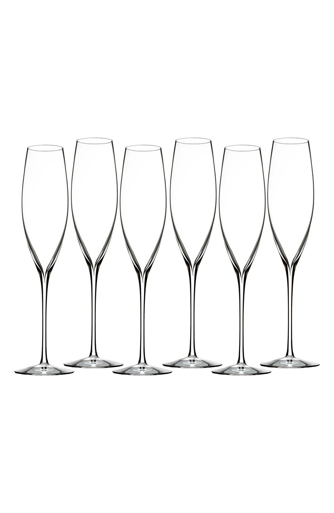 Main Image - Waterford 'Elegance' Fine Crystal Champagne Flutes (Set of 6)