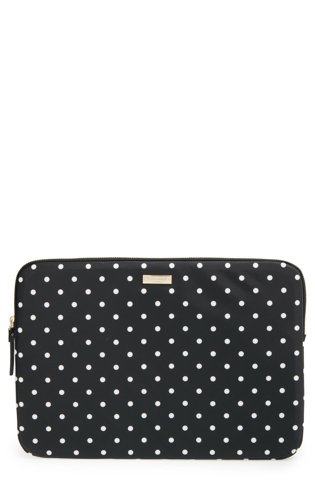 'classic nylon - mini pavilion' laptop sleeve,                             Main thumbnail 1, color,                             Black/ Cream