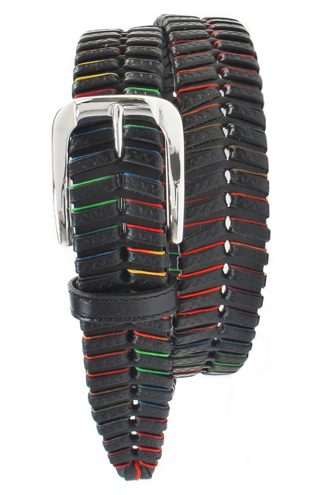 'Livingston' Leather Belt,                         Main,                         color, Black