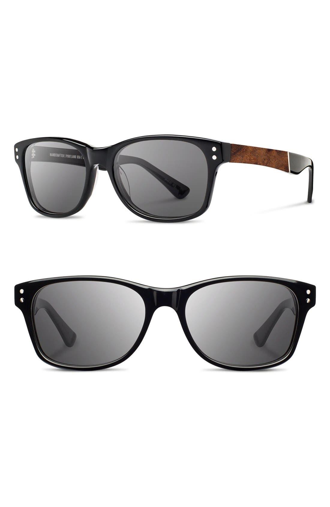 'Cannon' 54mm Polarized Acetate & Wood Sunglasses,                         Main,                         color, Black/ Elm Bur/ Grey