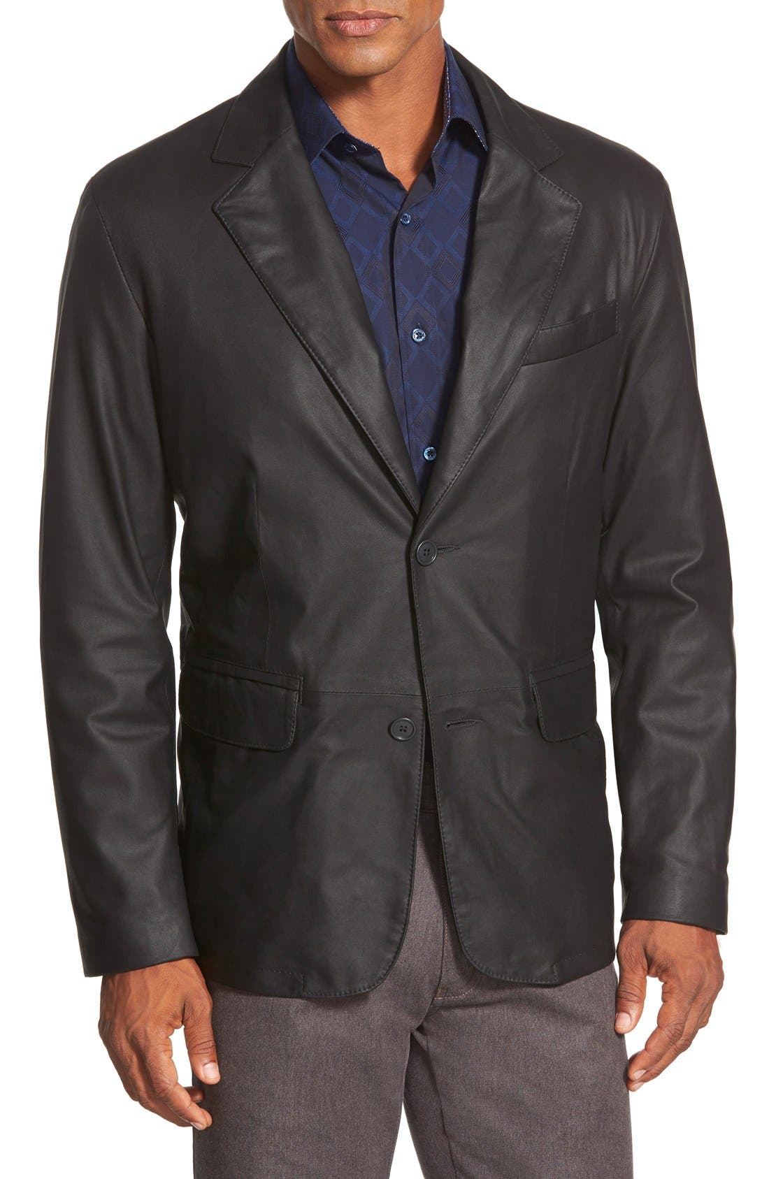 Main Image - Remy Leather 'Lite' Button Blazer