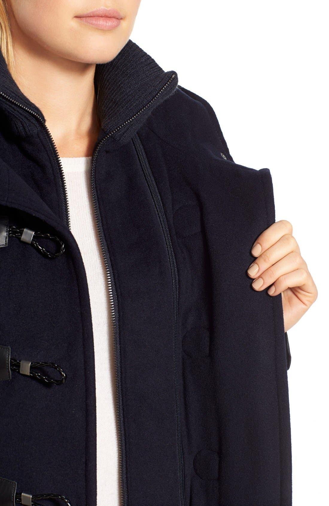 Alternate Image 4  - BCBGMAXAZRIA Faux Leather Trim Wool Blend Duffle Coat with Inset Bib