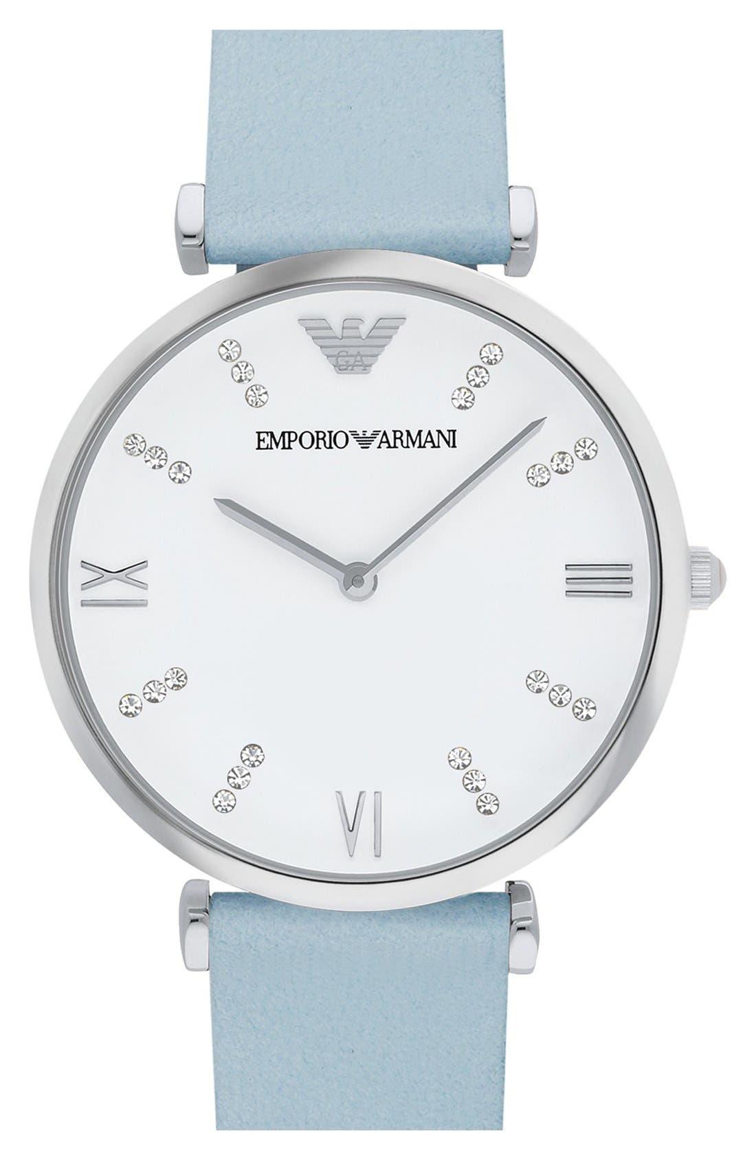 Alternate Image 1 Selected - EmporioArmani 'Retro' Leather Strap Watch, 32mm