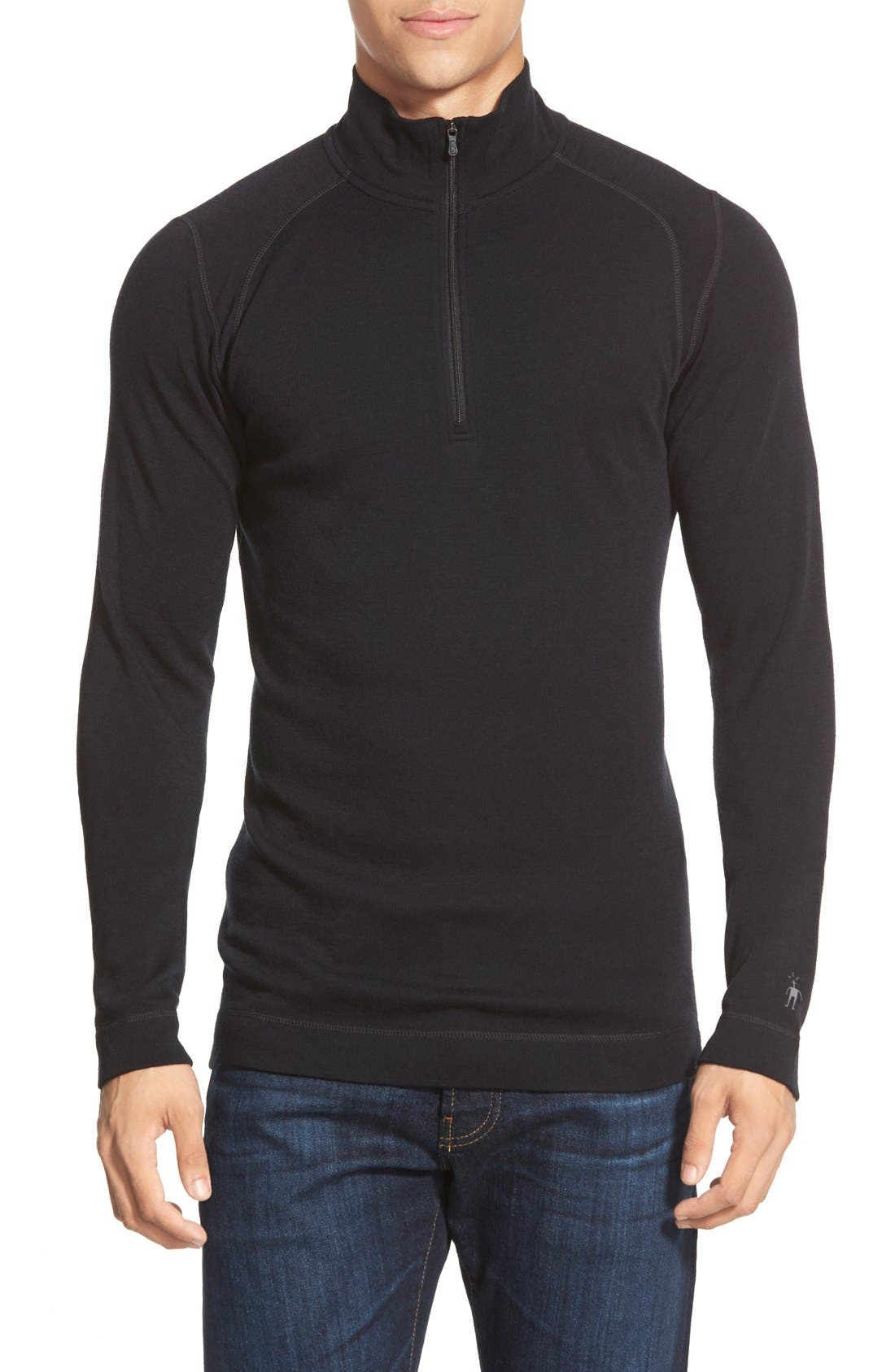 Merino 250 Base Layer Quarter Zip Pullover,                             Main thumbnail 1, color,                             Black