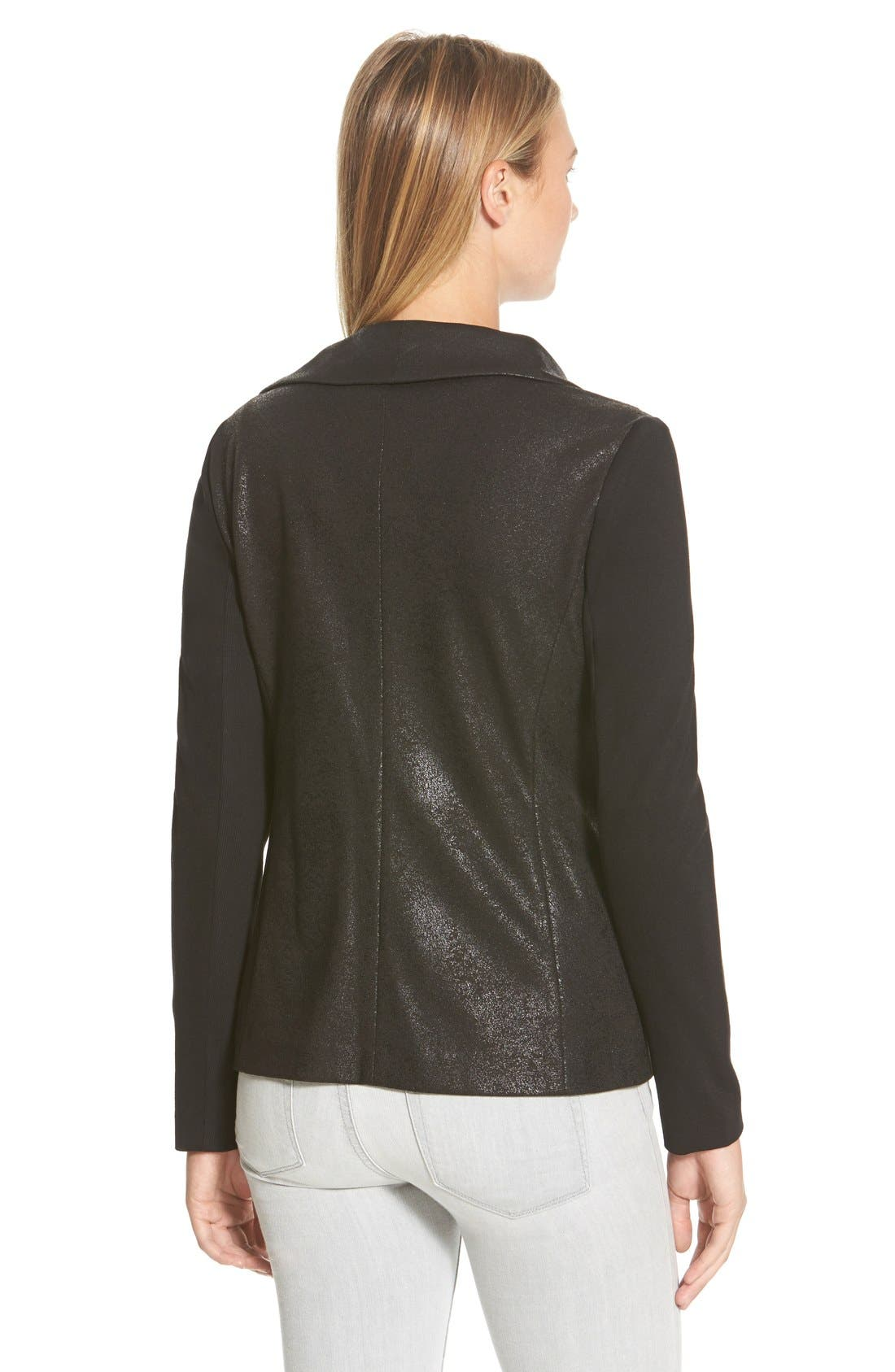 Distressed Foil Ponte Knit Asymmetrical Jacket,                             Alternate thumbnail 2, color,                             Rich Black