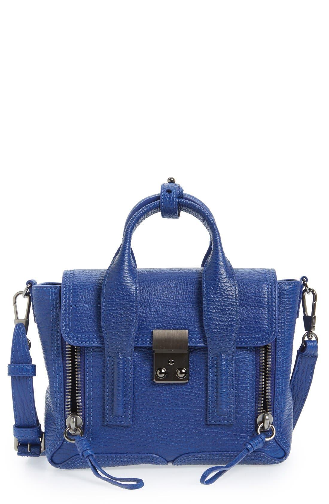 'Mini Pashli' Leather Satchel,                             Main thumbnail 1, color,                             Cobalt