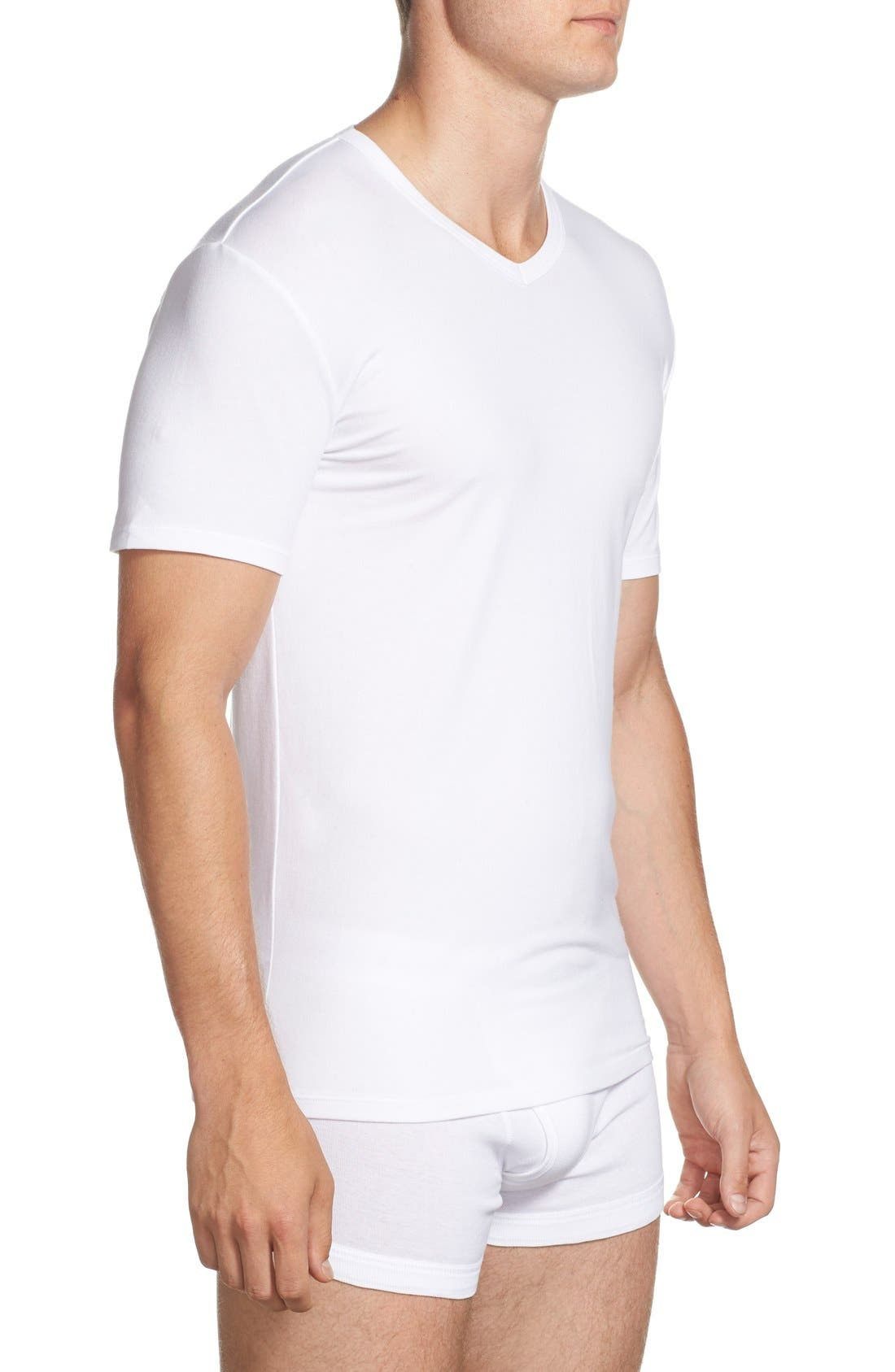 2-Pack Stretch Cotton T-Shirt,                             Alternate thumbnail 3, color,                             White