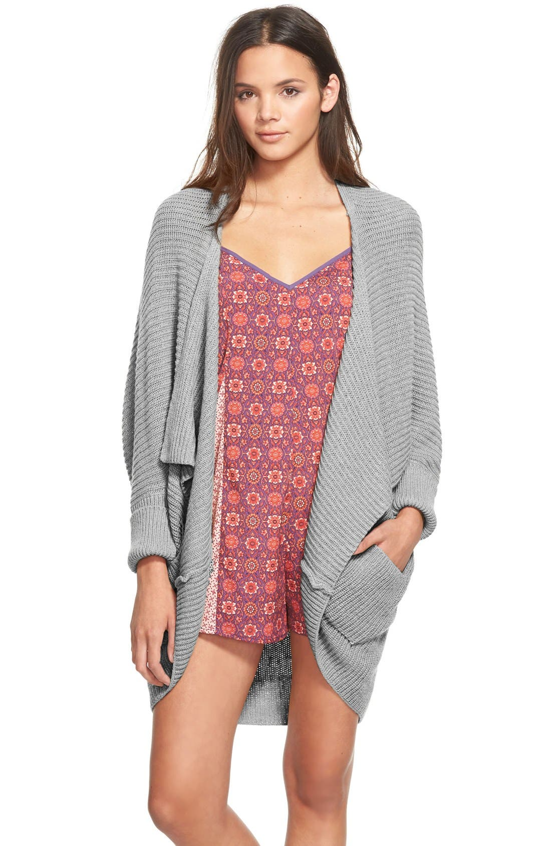Rib Cocoon Cardigan,                         Main,                         color, Grey Medium Heather