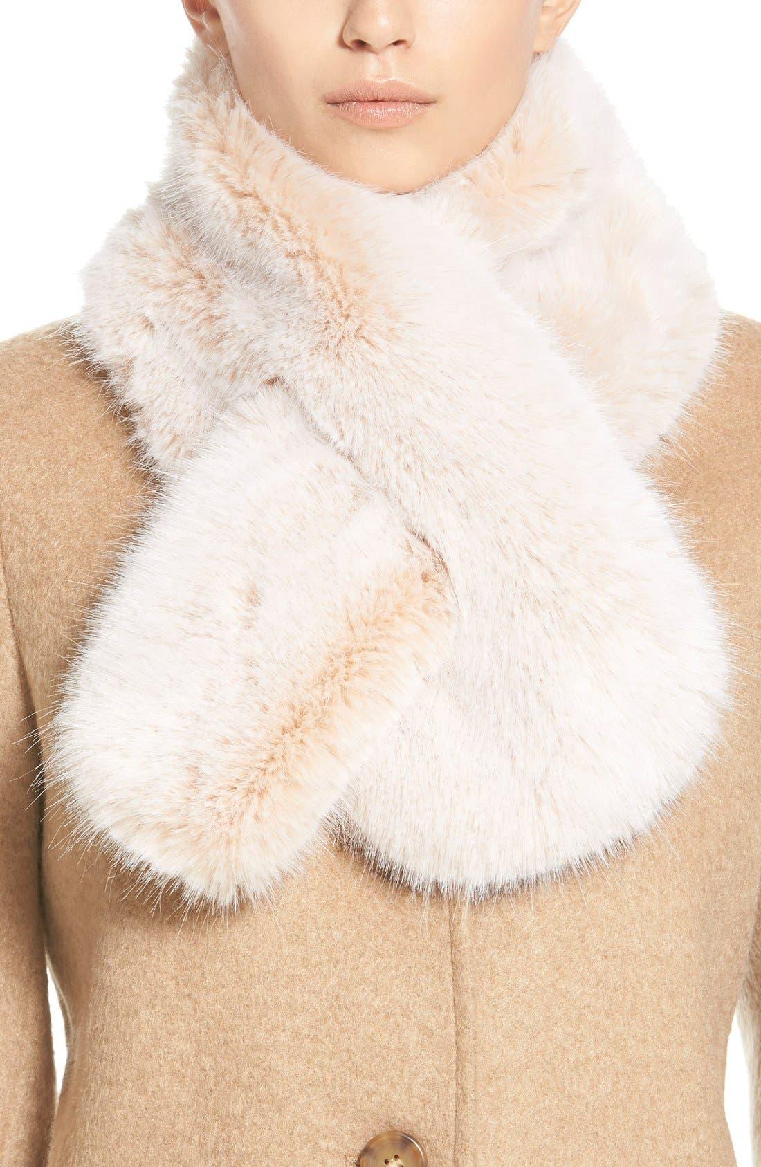 Faux Fur Stole,                             Main thumbnail 1, color,                             Neutral