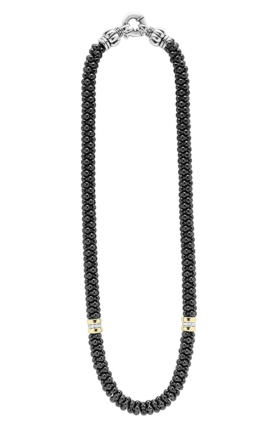 'Black Caviar' 7mm Beaded Diamond Station Necklace,                             Main thumbnail 1, color,                             Black Caviar/ Gold