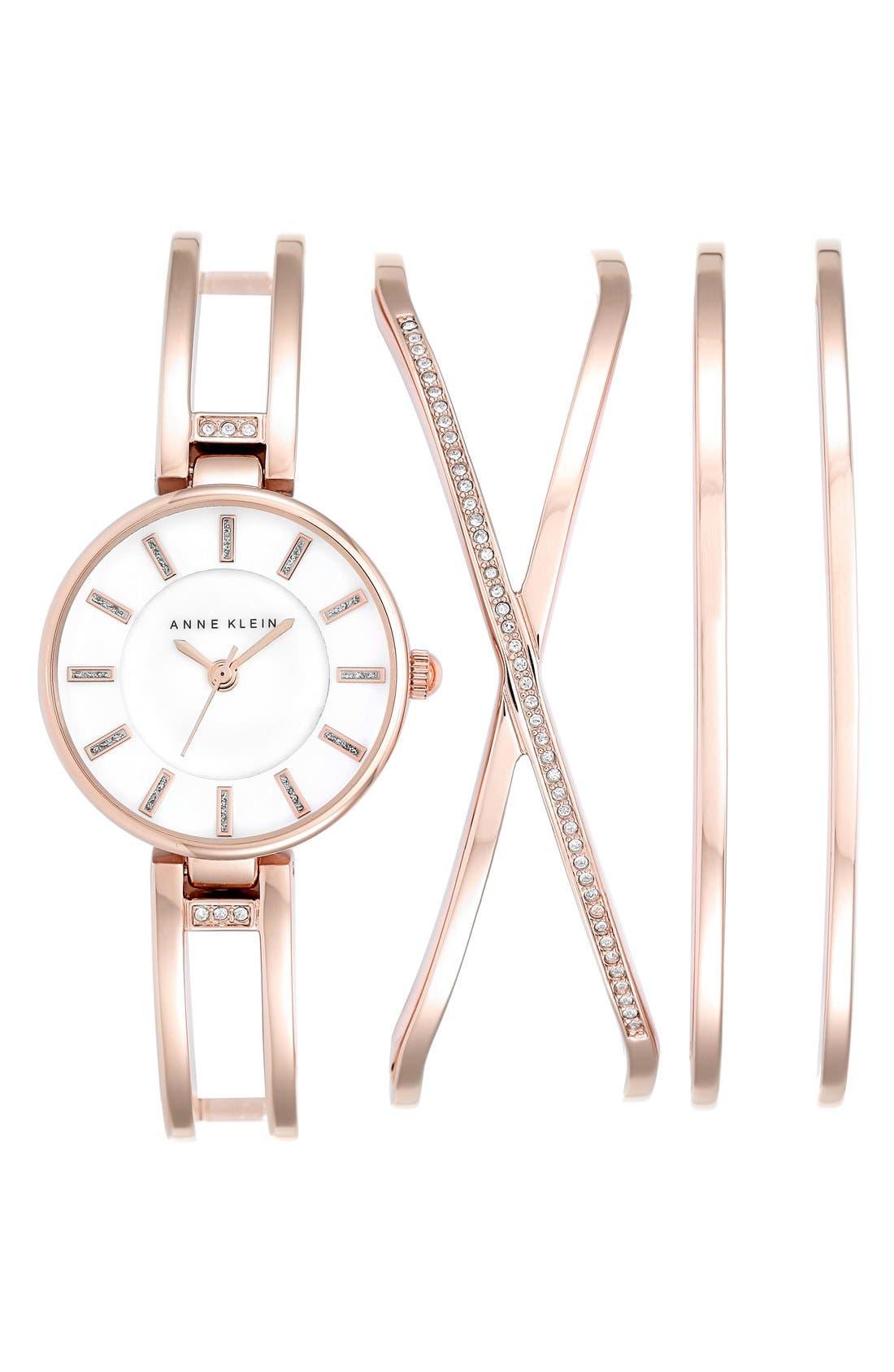 Alternate Image 1 Selected - Anne Klein Boxed Bracelet & Bangle Watch Set, 26mm