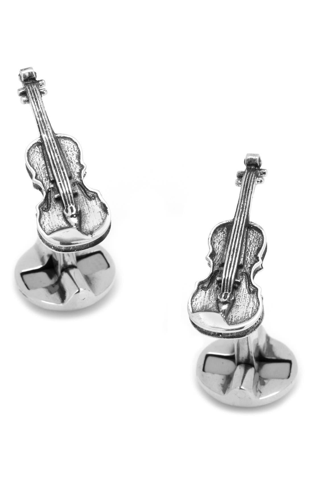 Violin Cuff Links,                         Main,                         color, Silver