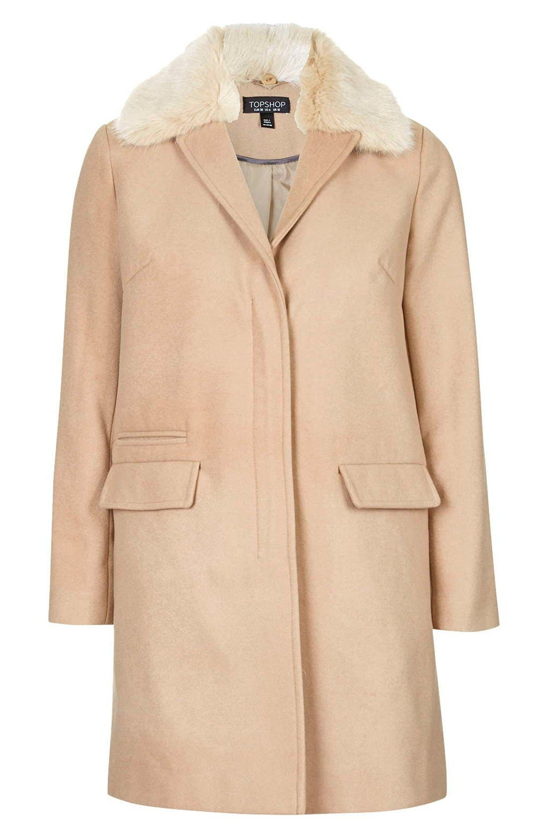 'Mia' Faux Fur Collar Slim Fit Coat,                             Alternate thumbnail 4, color,                             Camel