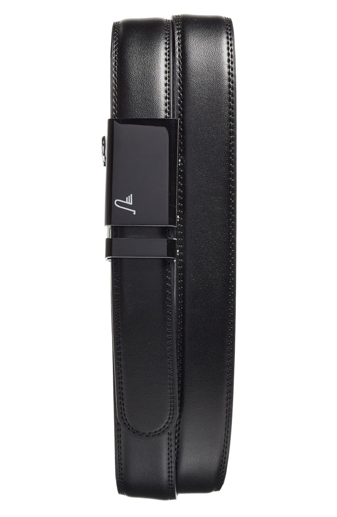 'Vader'Leather Belt,                             Main thumbnail 1, color,                             Black/ Black