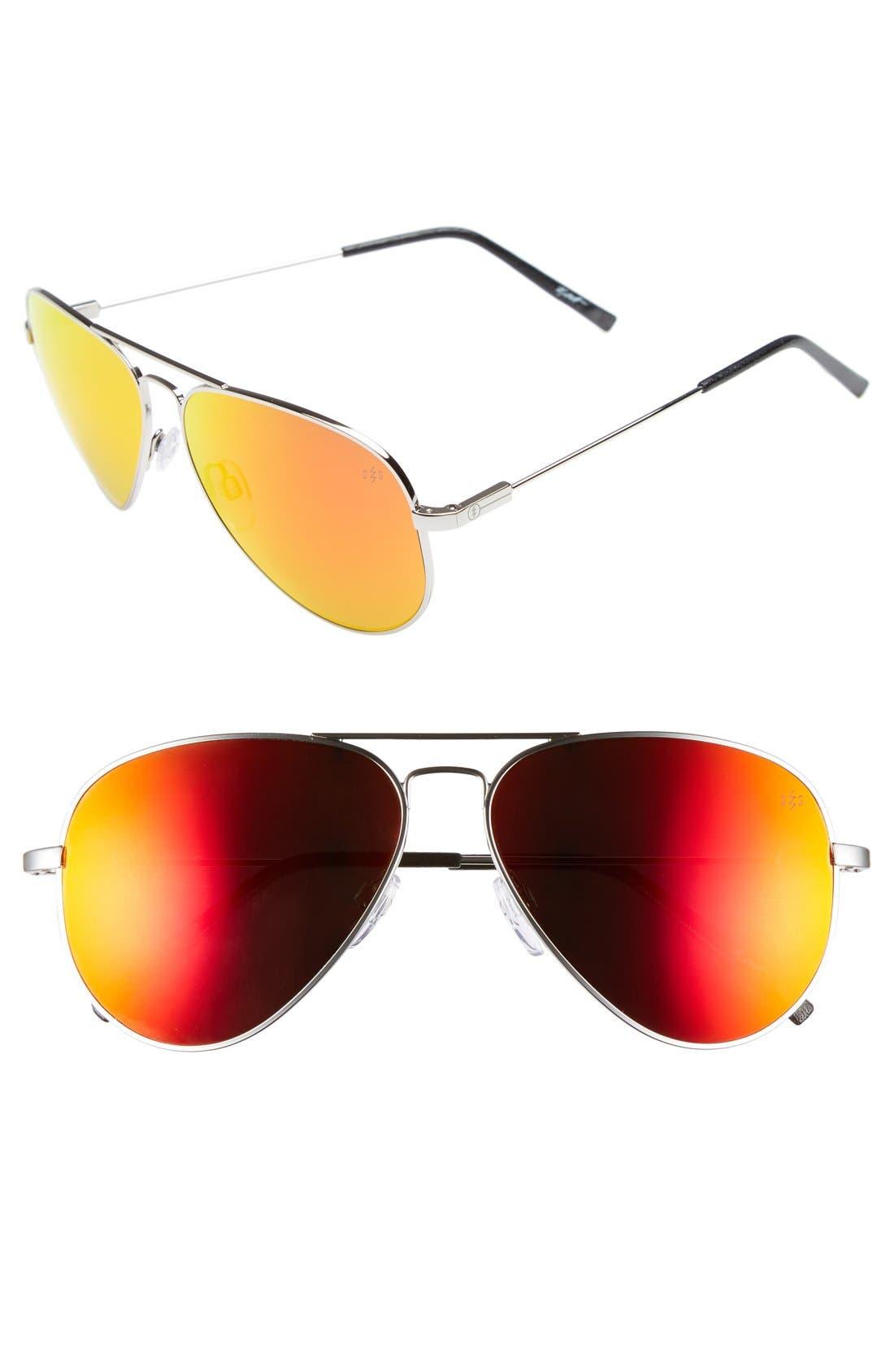 'AV1 Large'58mm Aviator Sunglasses,                             Main thumbnail 1, color,                             Platinum/ Fire Chrome