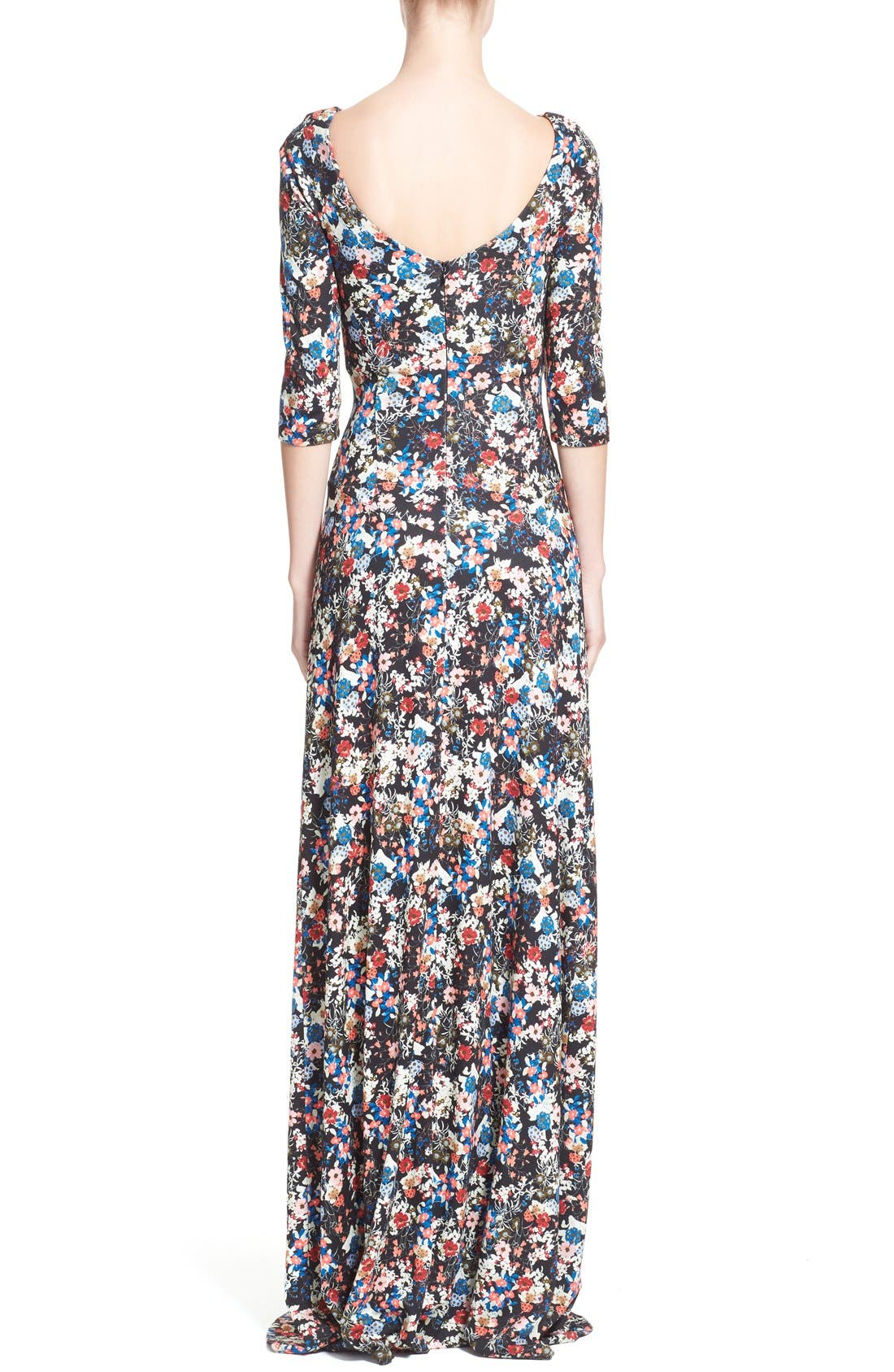 'Valentina' Floral Print JerseyGown,                             Alternate thumbnail 2, color,                             Pink/ Multi