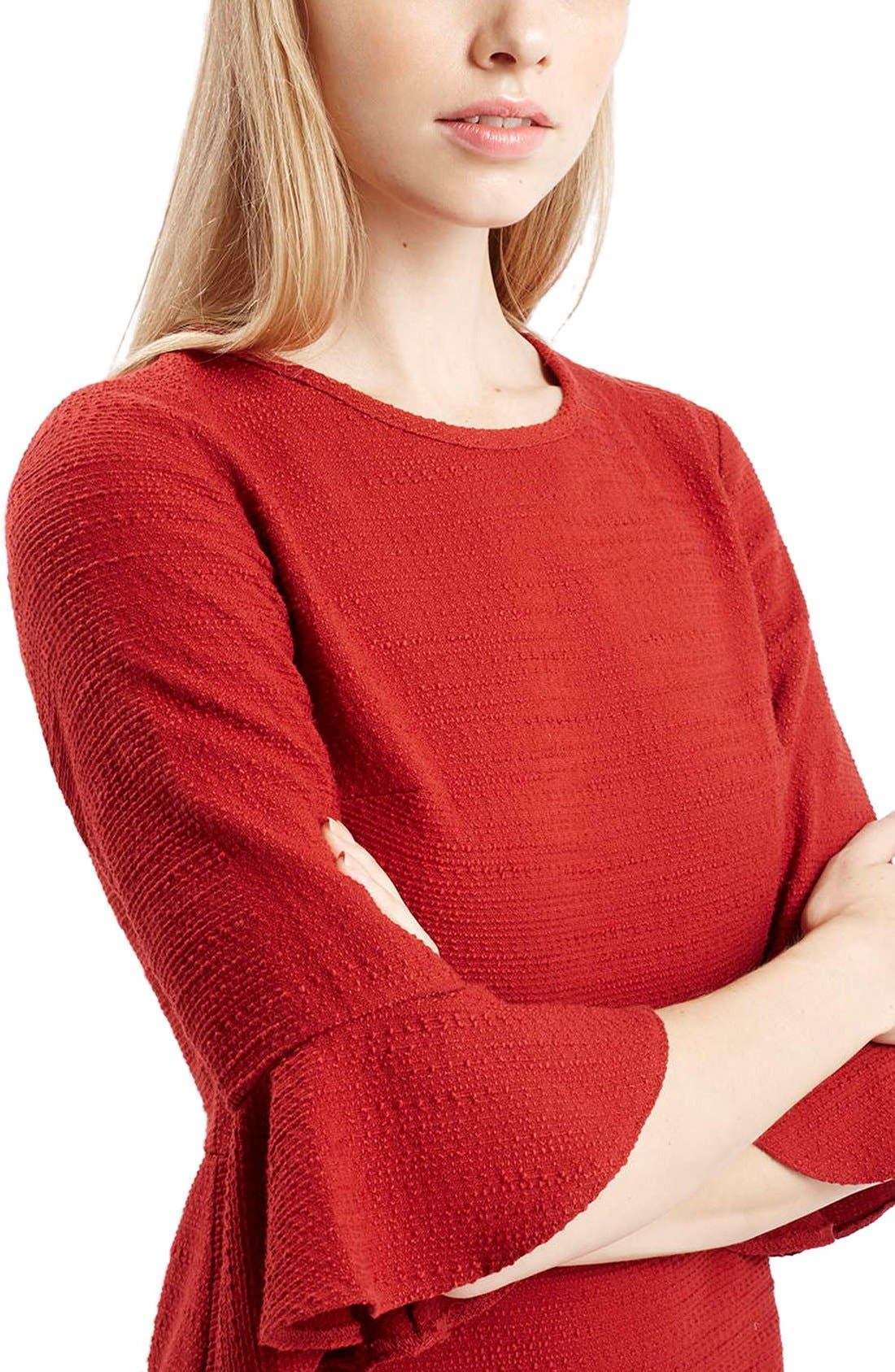 Alternate Image 4  - Topshop Fluted Sleeve Dress (Regular & Petite)