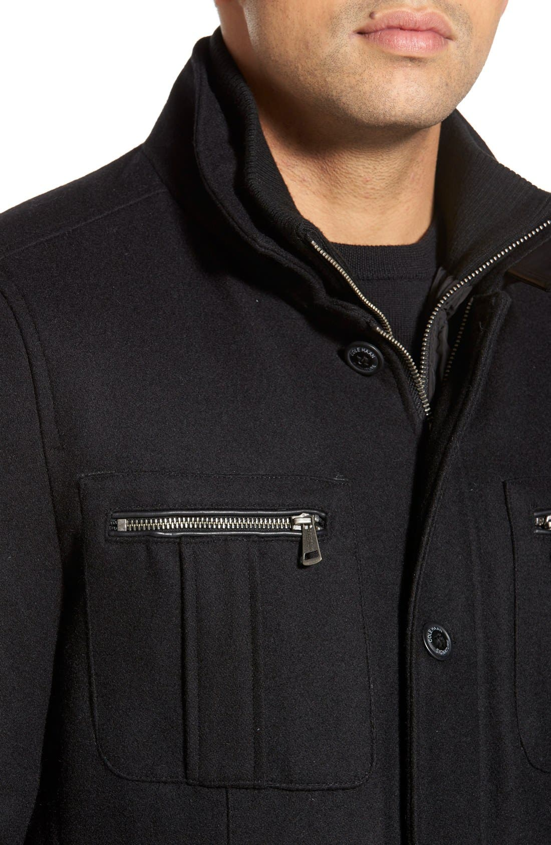 Wool Blend Jacket,                             Alternate thumbnail 3, color,                             Black