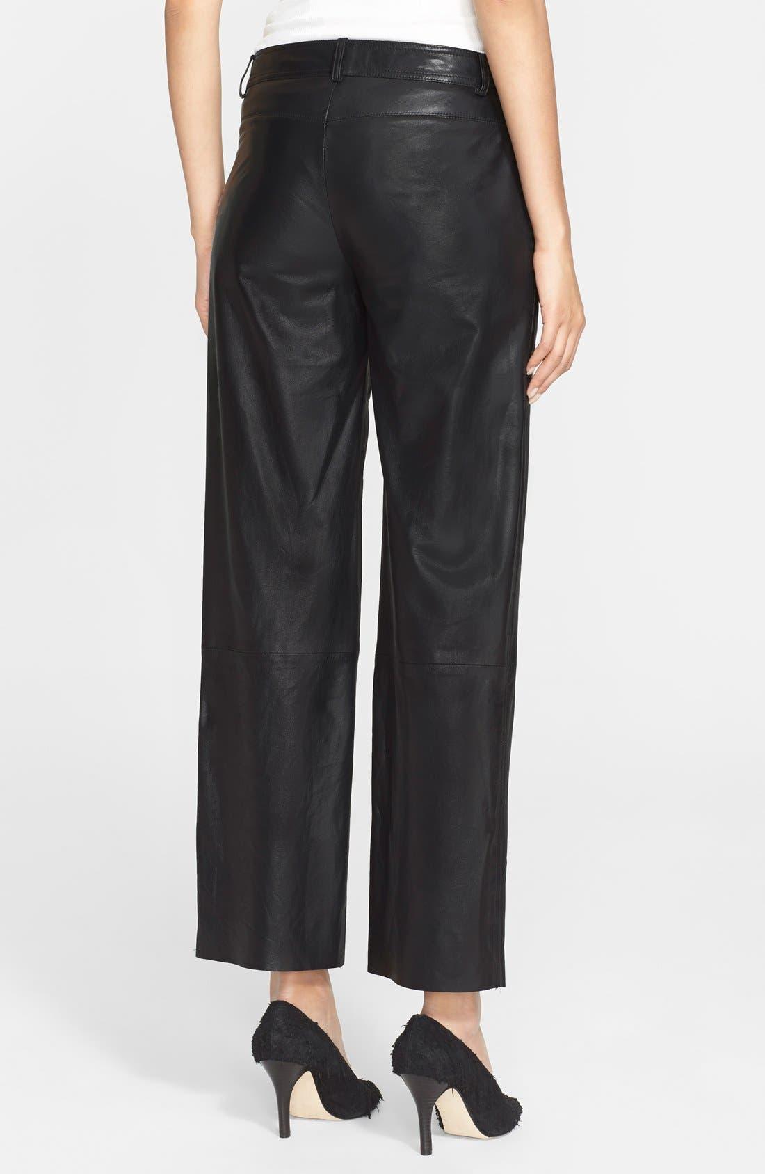 Alternate Image 2  - Helmut Lang Crop Leather Pants