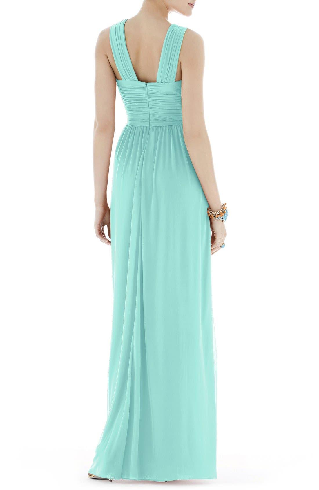 Shirred Chiffon V-Neck Gown,                             Alternate thumbnail 2, color,                             Coastal