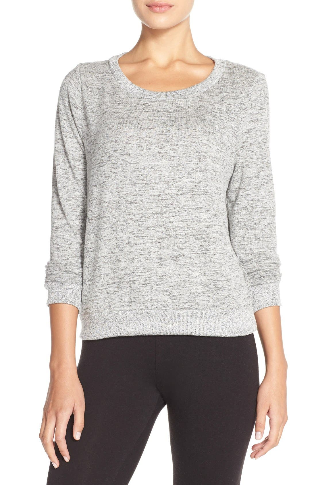 Brushed Hacci Sweatshirt,                         Main,                         color, Grey Flannel Marl