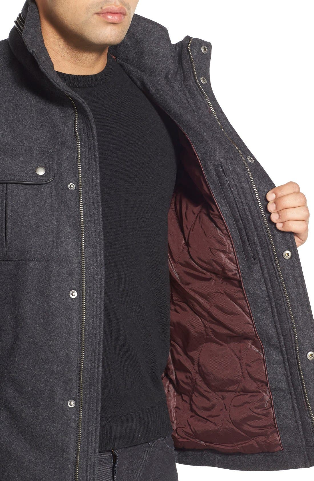 Melton Coat,                             Alternate thumbnail 4, color,                             Charcoal