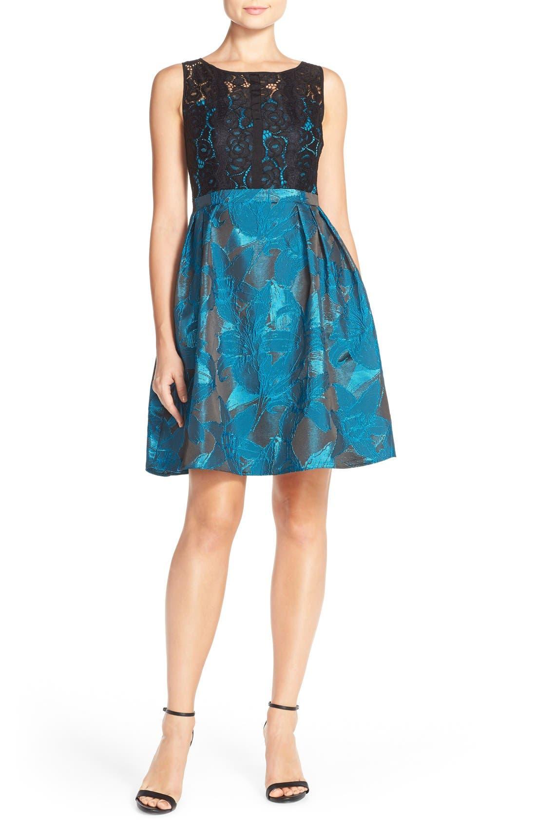 Alternate Image 4  - Adrianna Papell Lace Jacquard Fit & Flare Dress (Regular & Petite)