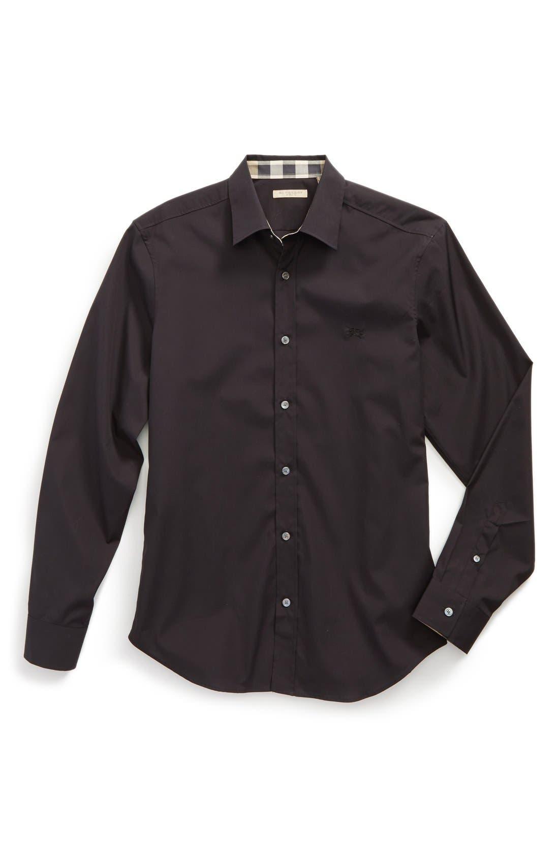 Burberry Cambridge Check Trim Woven Shirt Black Modesens