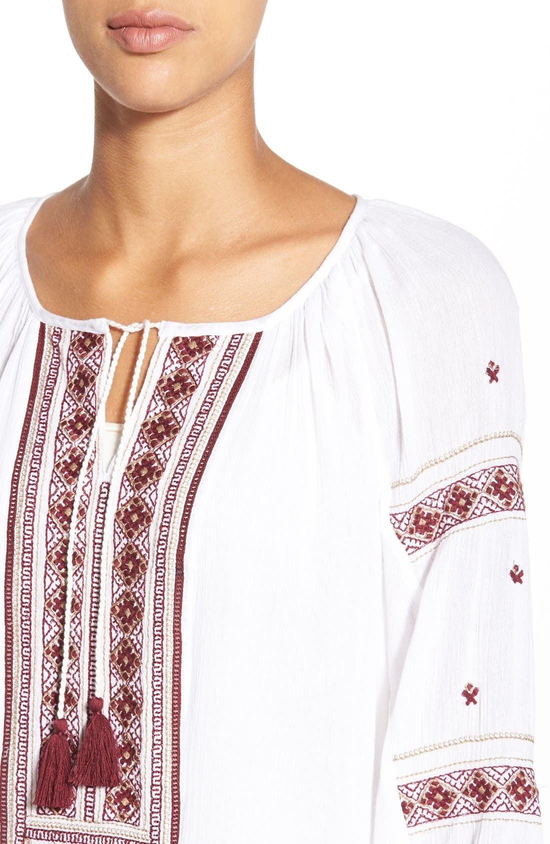 Alternate Image 4  - Caslon® Embroidered Peasant Tunic Top