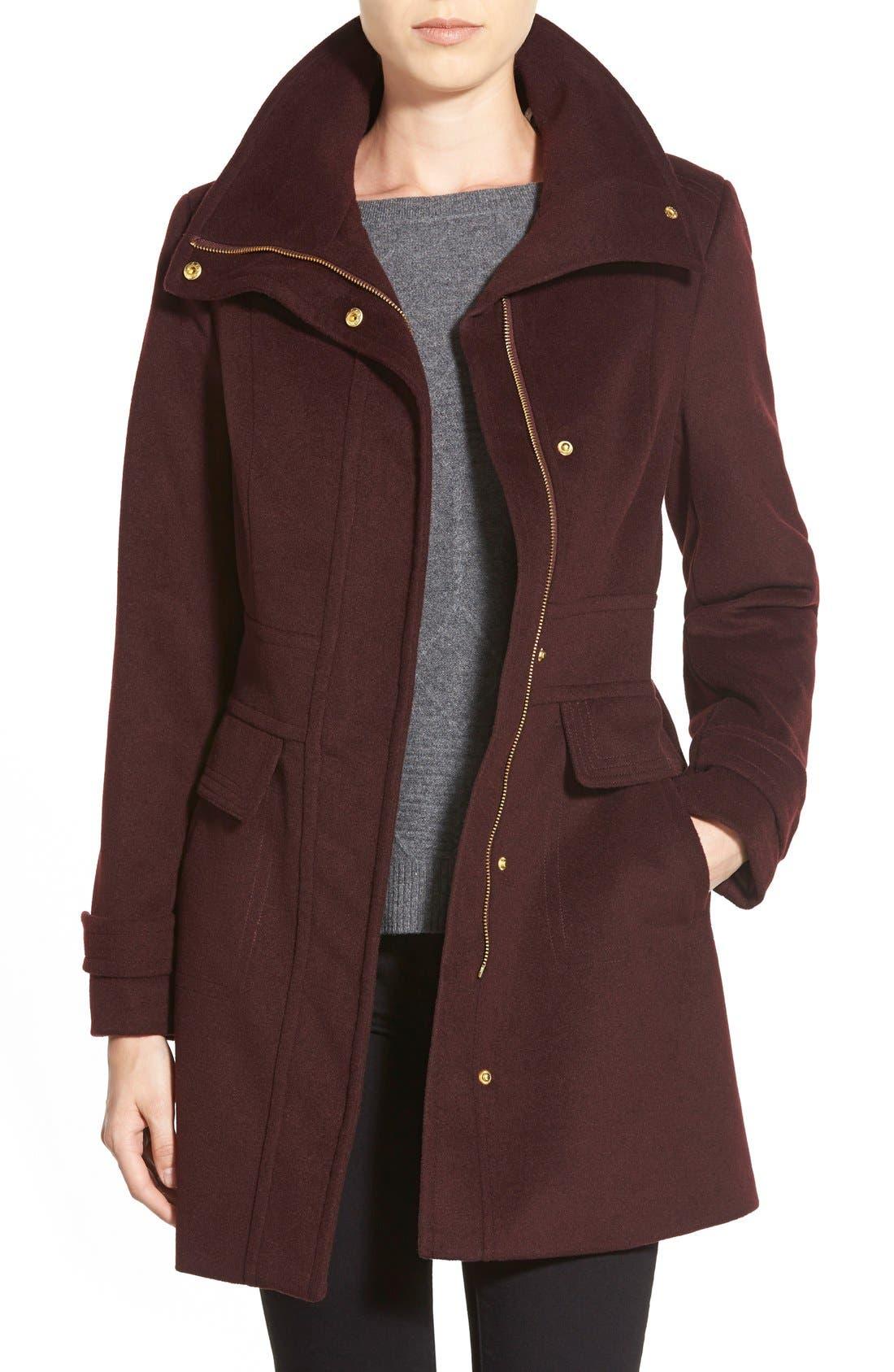 Cole HaanSignature Stand Collar Wool Blend Coat,                         Main,                         color, Bordeaux
