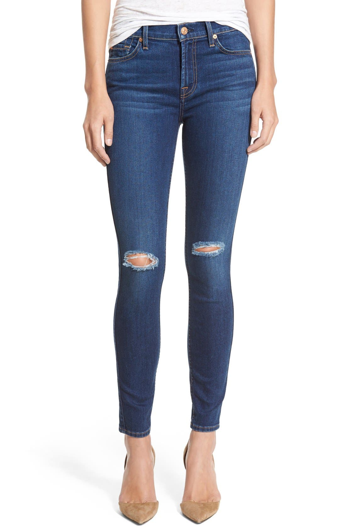Main Image - 7 For All Mankind® Destroyed Ankle Skinny Jeans (Stunning Seville 2)