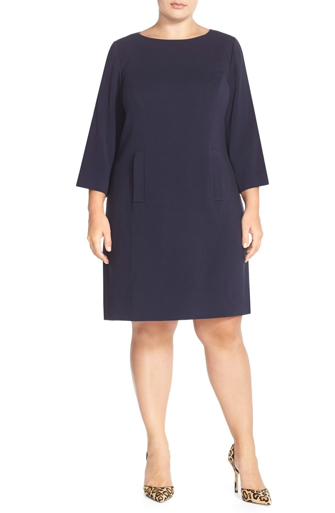 Alternate Image 4  - Eliza J Pocket Detail Shift Dress (Plus Size)