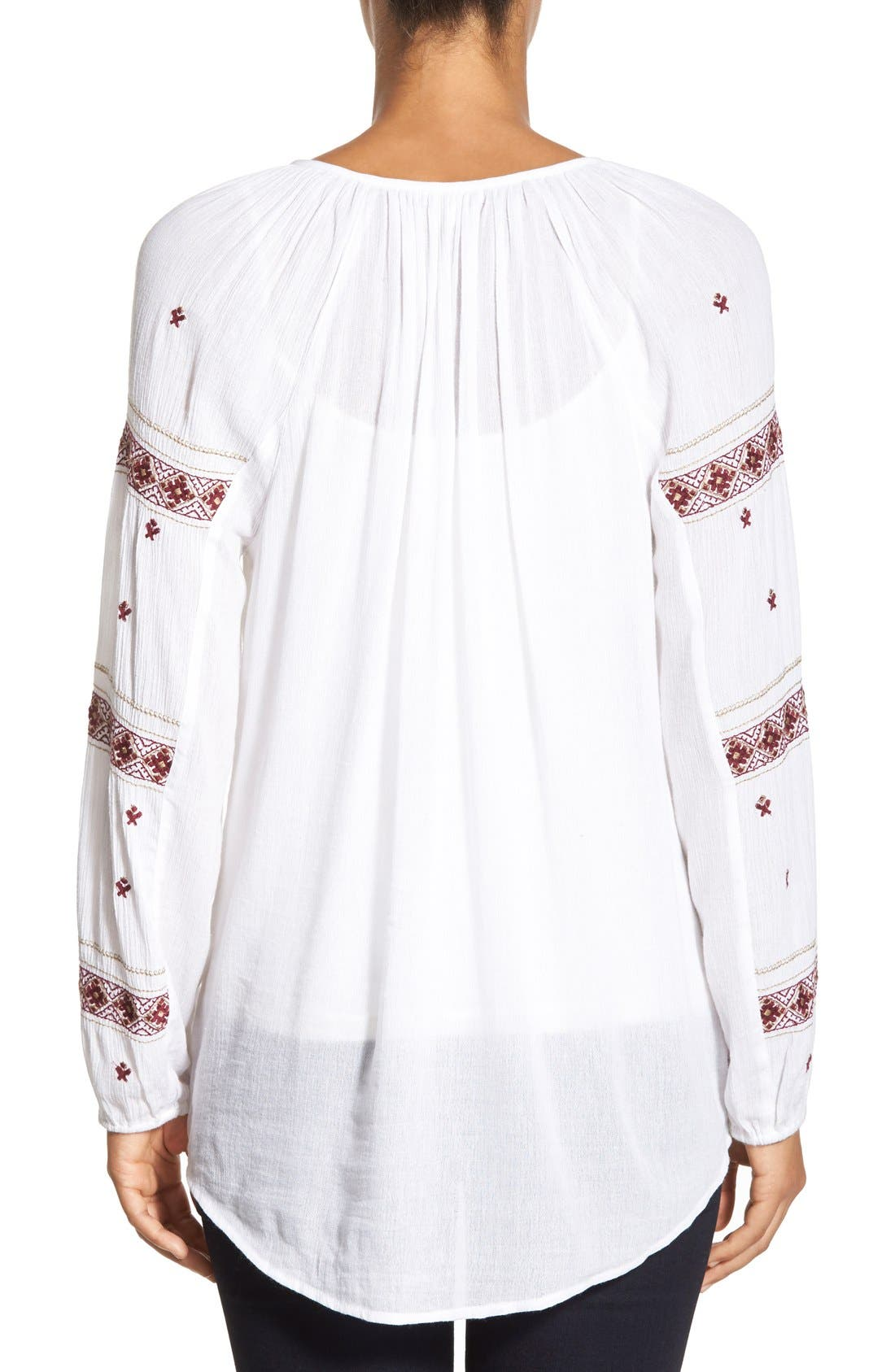 Alternate Image 2  - Caslon® Embroidered Peasant Tunic Top