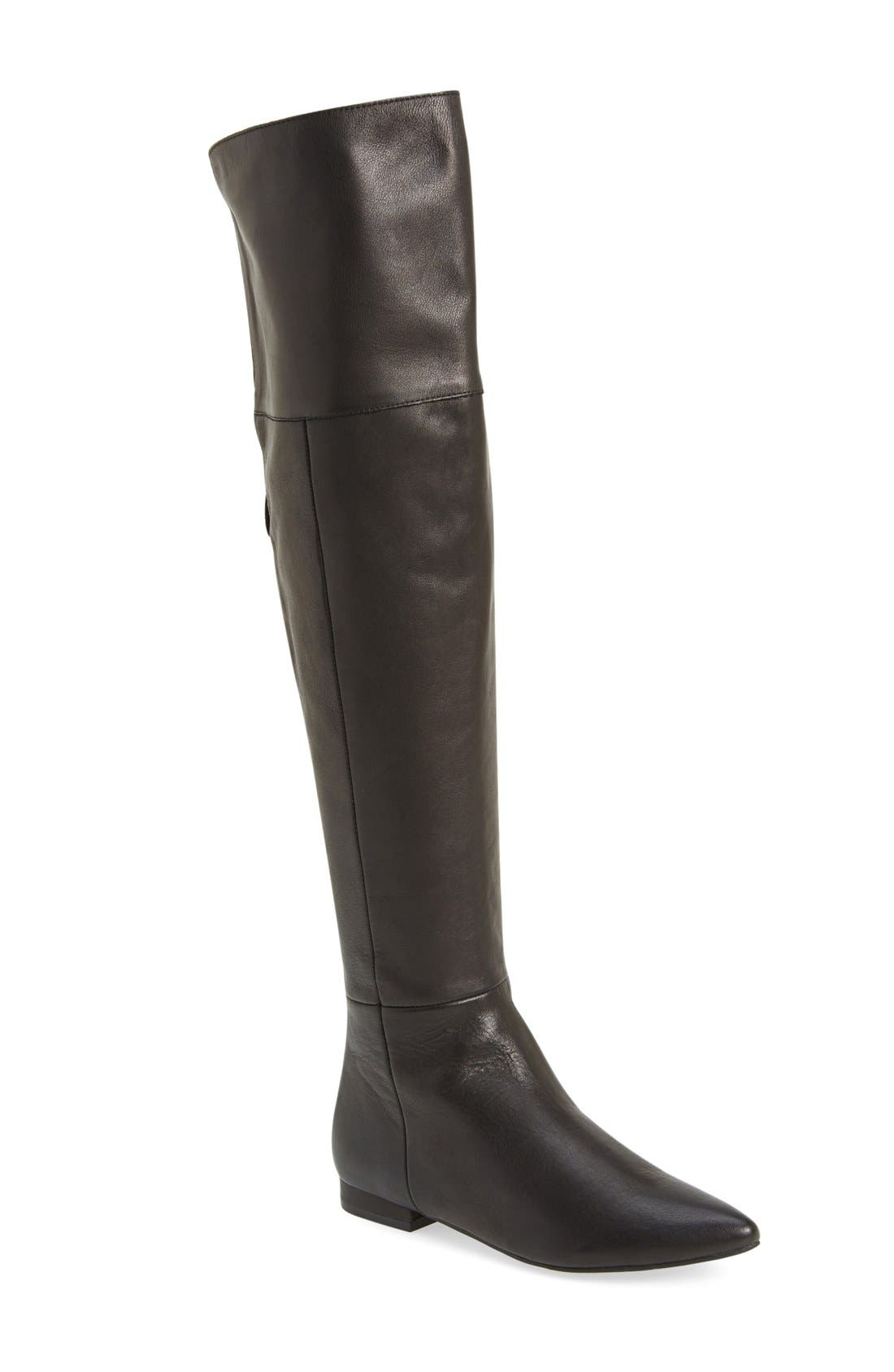 'York' Over the Knee Boot,                         Main,                         color, Black Leather
