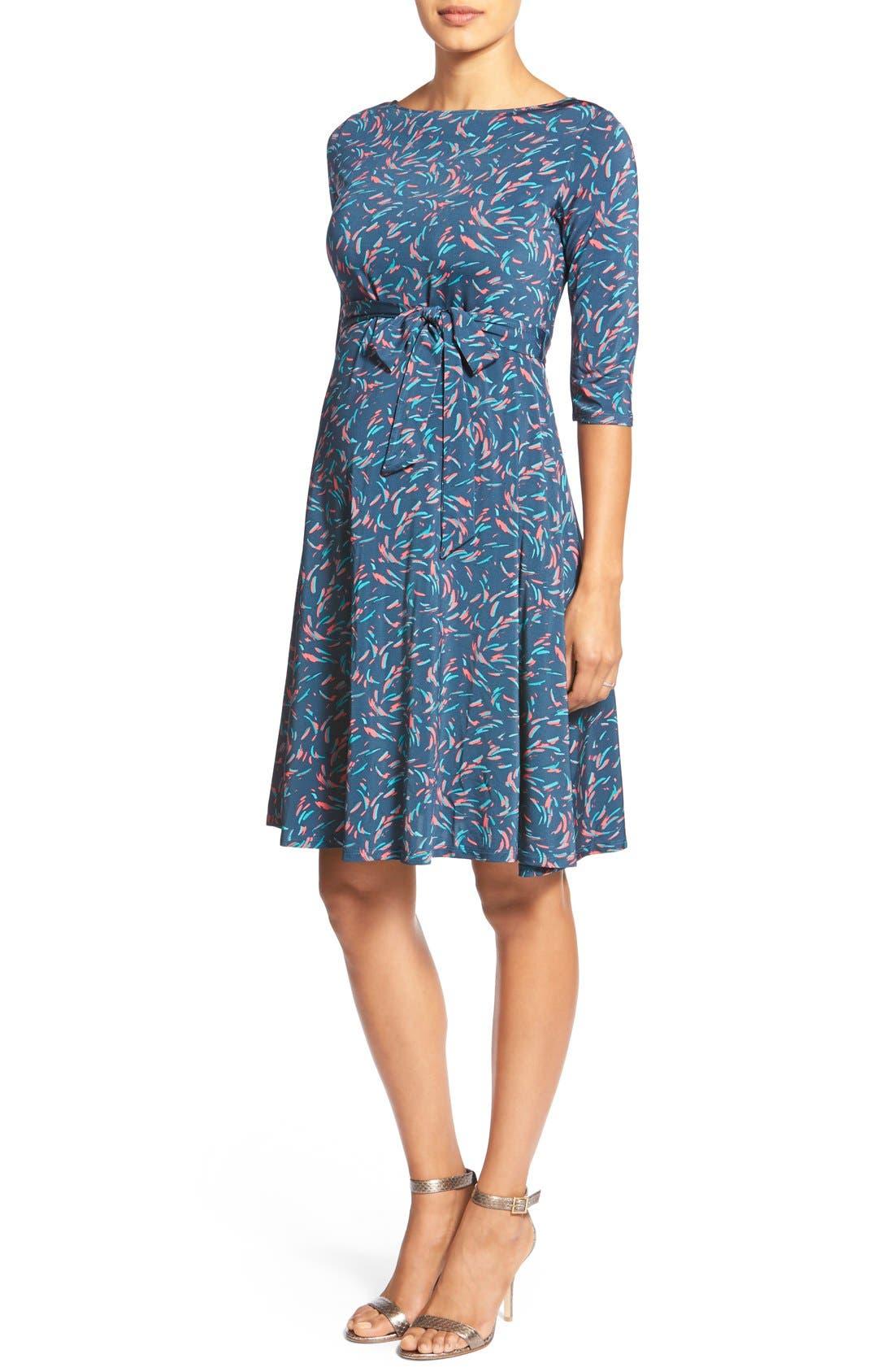'Ilana' Belted Maternity Dress,                             Main thumbnail 1, color,                             Splash